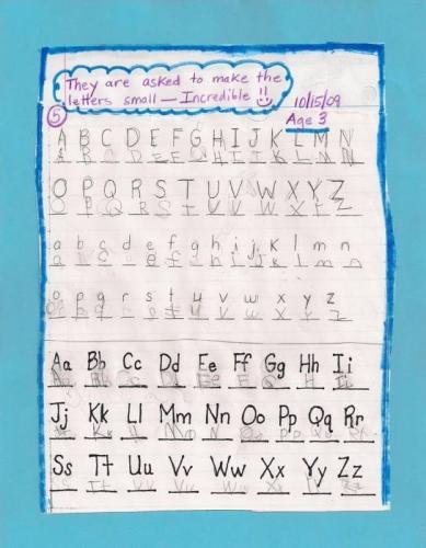 ABCs homework for International Children's School in Burlington, Vermont