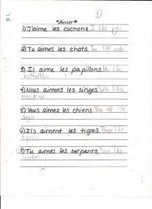 French homework for International Children's School in Burlington, Vermont